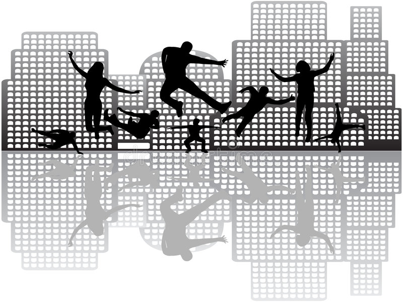 People in action and buildings. Illustration of people in action and buildings vector illustration