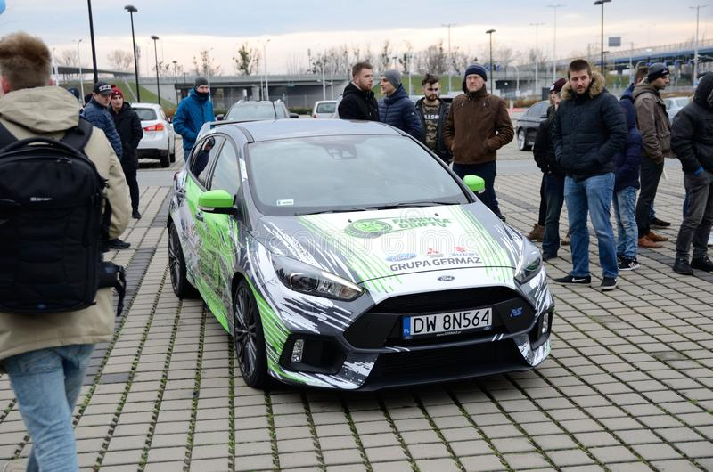 People admire Ford Focus in drift school in Poland stock photo