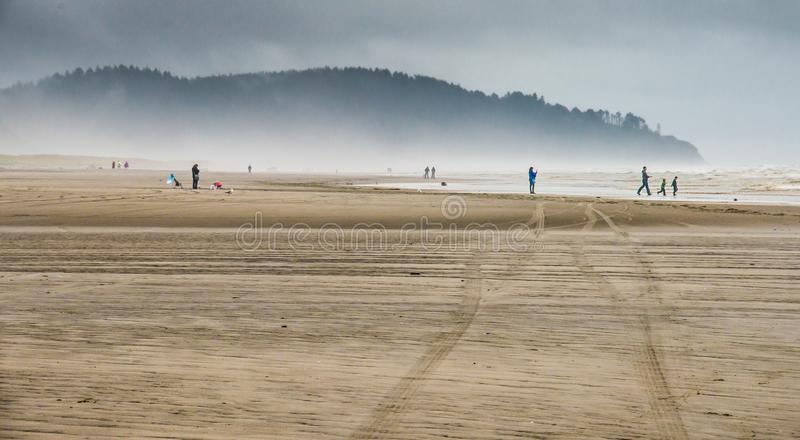 People Admiring The Power Of Nature At The Sandy Beach Watching The Rough Seas and Rolling Waves Beating The Shore In Long Beach. Washington royalty free stock image
