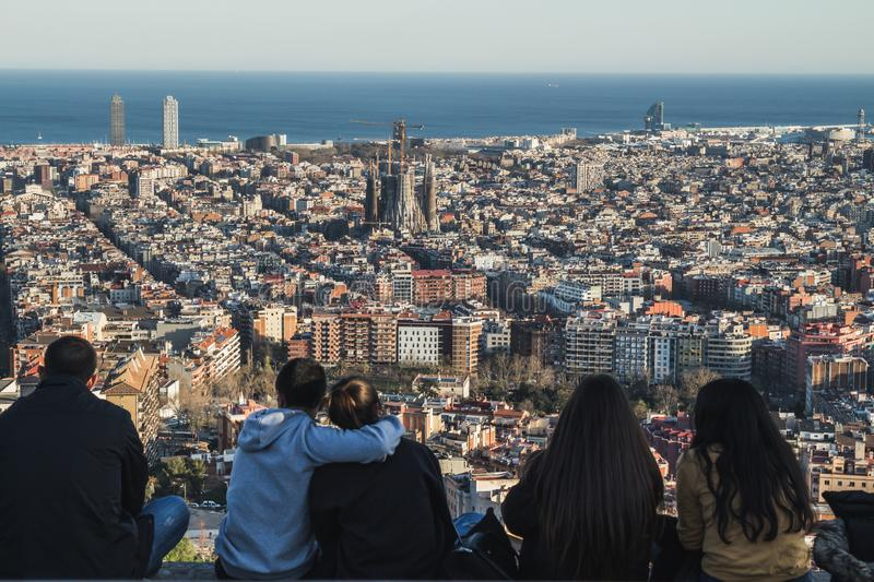 People admiring the views of the city of Barcelona. royalty free stock photos