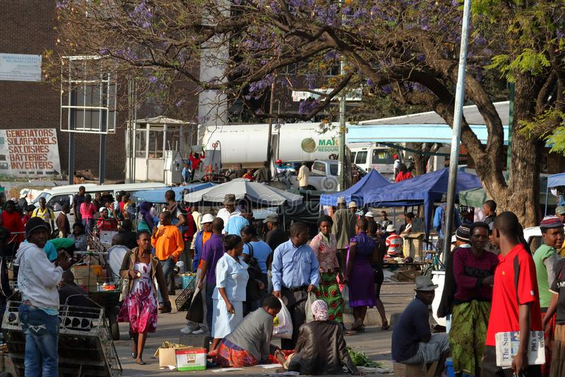 People on the African Market of Bulawayo in Zimbabwe. 16. September 2012 stock photo