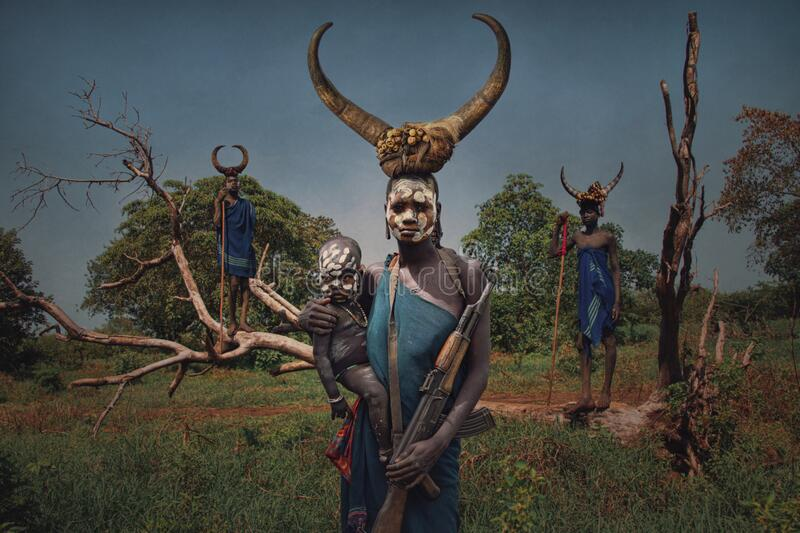 People from the African tribe Mursi, Ethiopia royalty free stock images