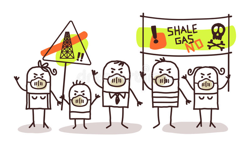 People against shale gas extract. Cartoon people against shale gas extract royalty free illustration