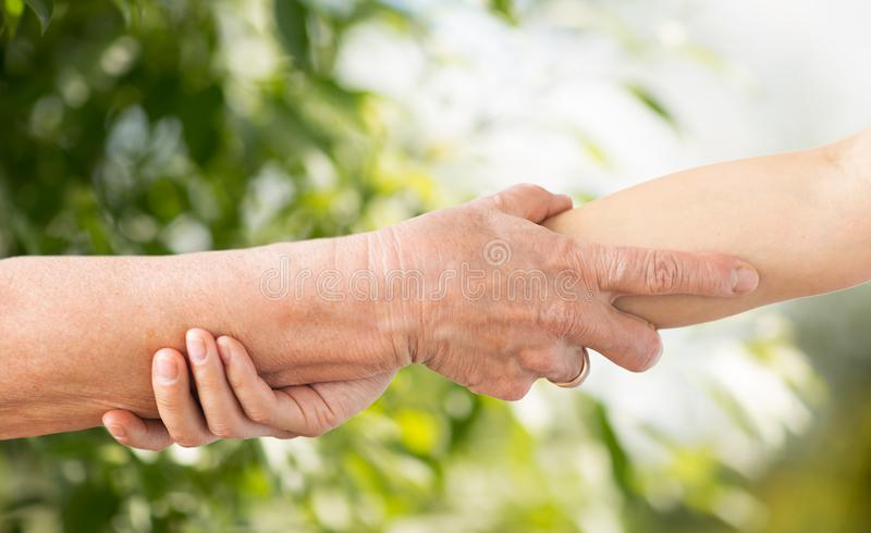 Close up of senior and young woman holding hands. People, age and charity concept - close up of senior and young woman holding hands over green natural royalty free stock images