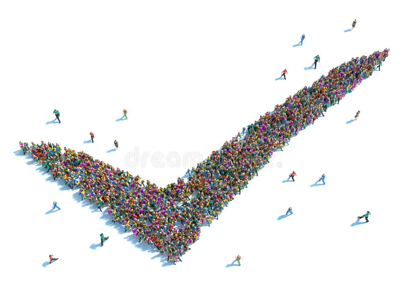 People that agree. group of people in the shape of a check mark royalty free illustration