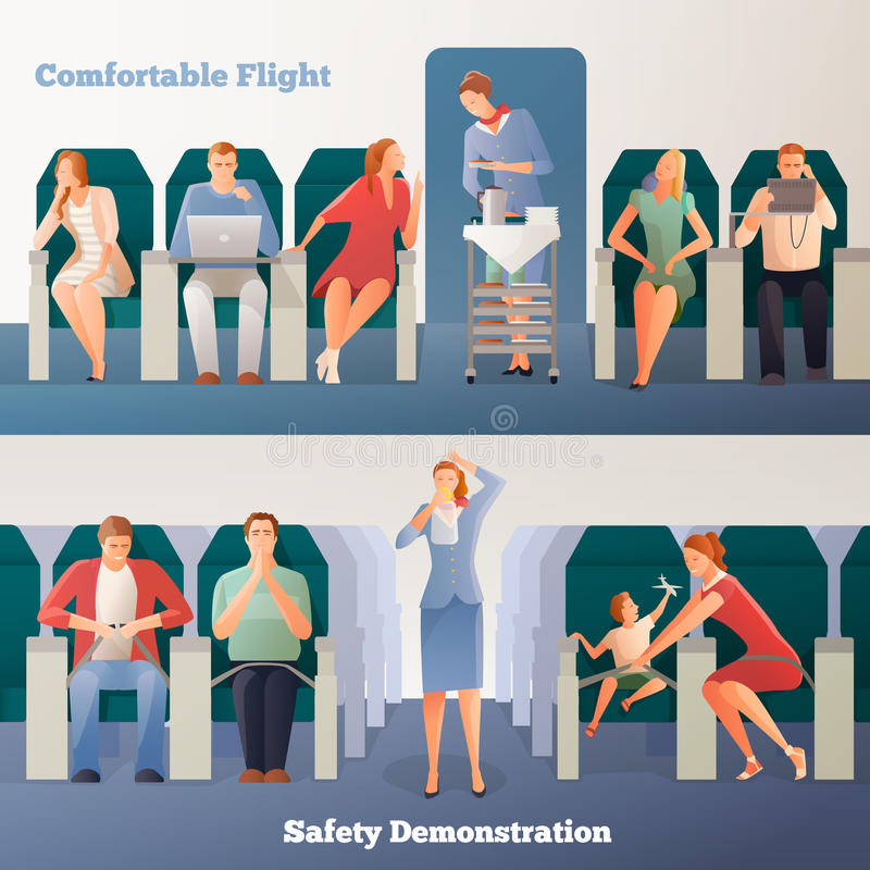 People In Airplane Horizontal Banners stock illustration