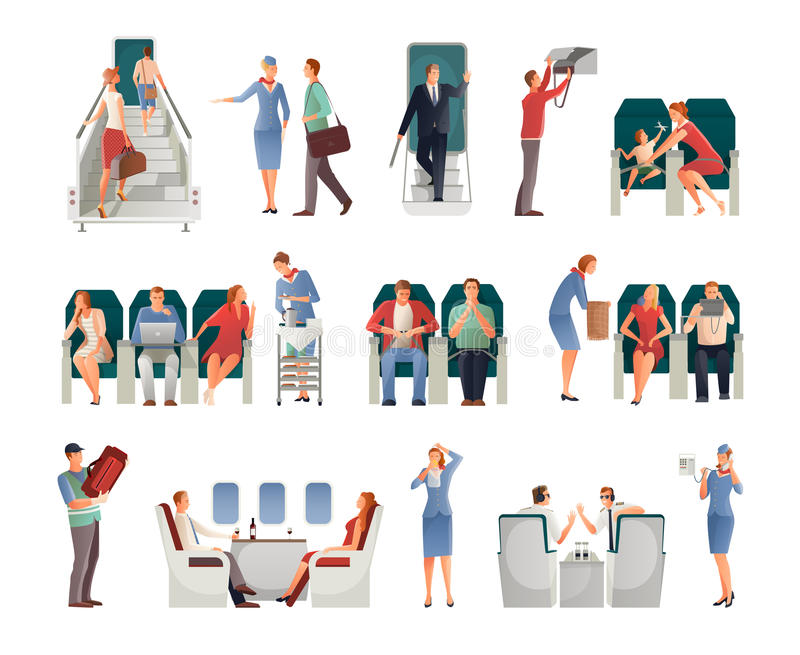 People In Airplane Set vector illustration