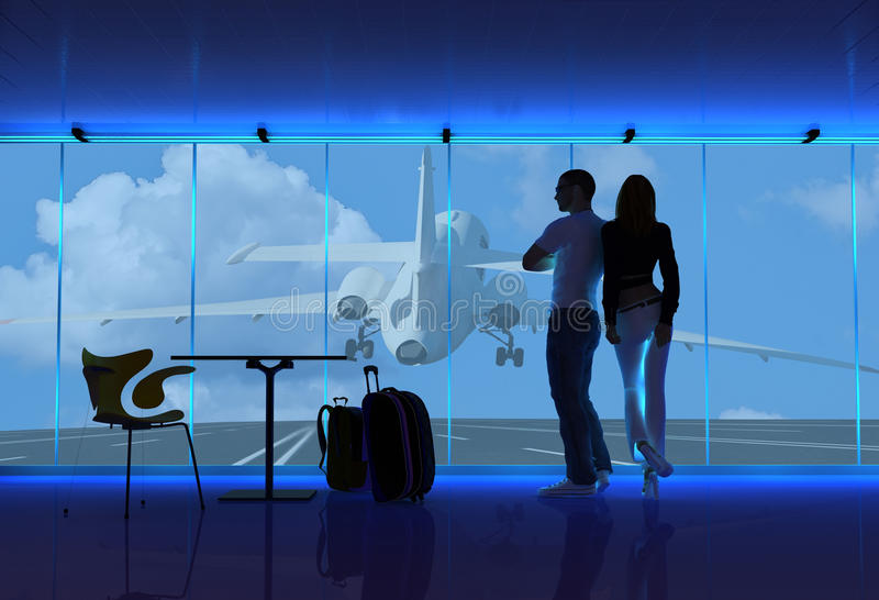 People at the airport. Silhouettes of people at the airport vector illustration