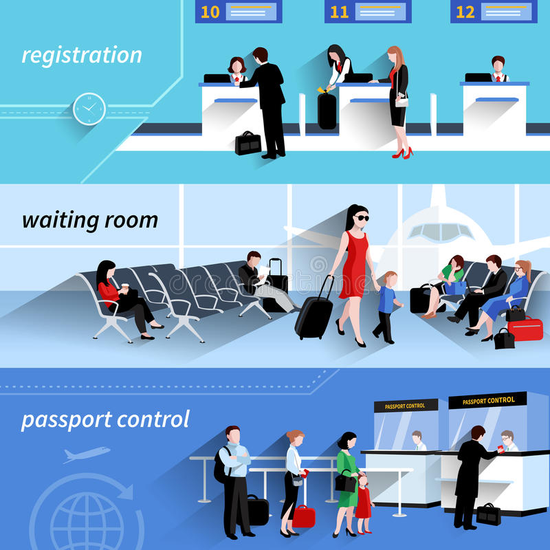People In Airport Banners stock illustration