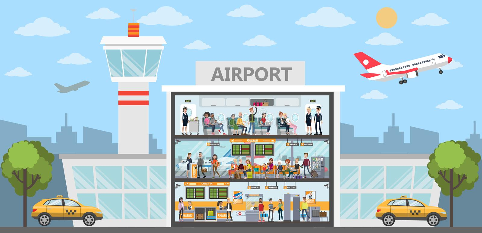 People at airport. royalty free illustration