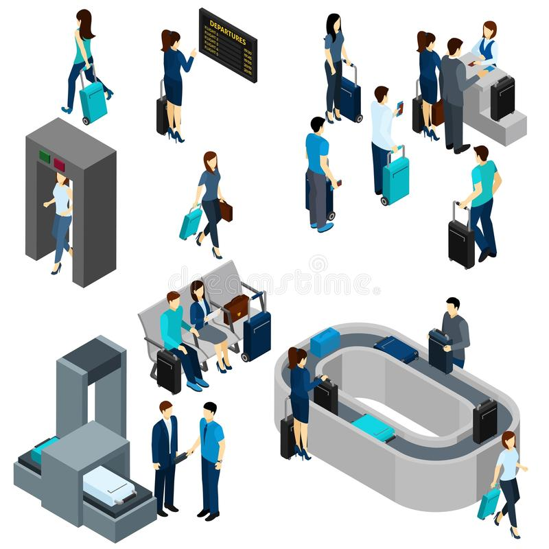People In Airport Isometric stock illustration