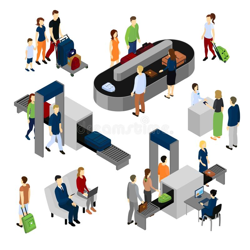 People In Airport Isometric Set royalty free illustration