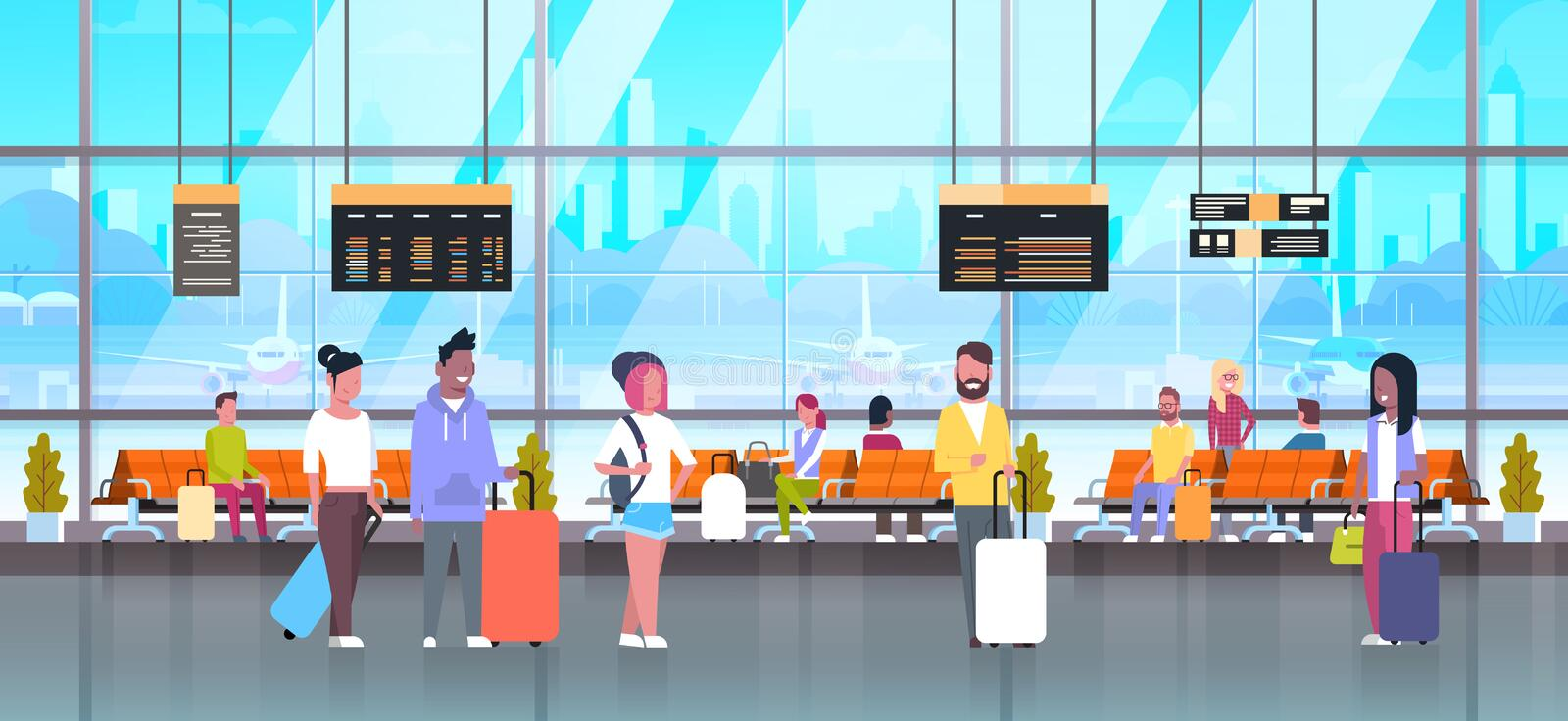 People In Airport Travelers With Baggage At Waiting Hall Or Departure Lounge Terminal Check In Interior. People In Airport Travelers Baggage At Waiting Hall Or stock illustration