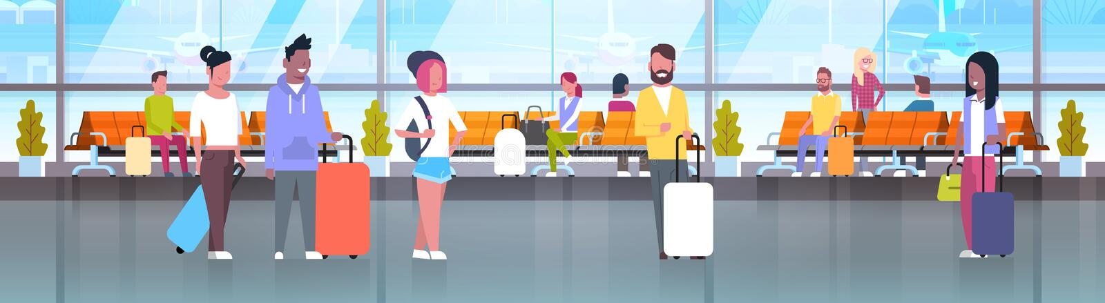 People In Airport Travelers With Baggage At Waiting Hall Or Departure Lounge Terminal Horizontal Banner. Flat Vector Illustration stock illustration