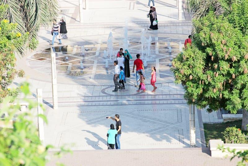 Egypt cairo. People at egyptian garden al azhar park in cairo in egypt stock photos