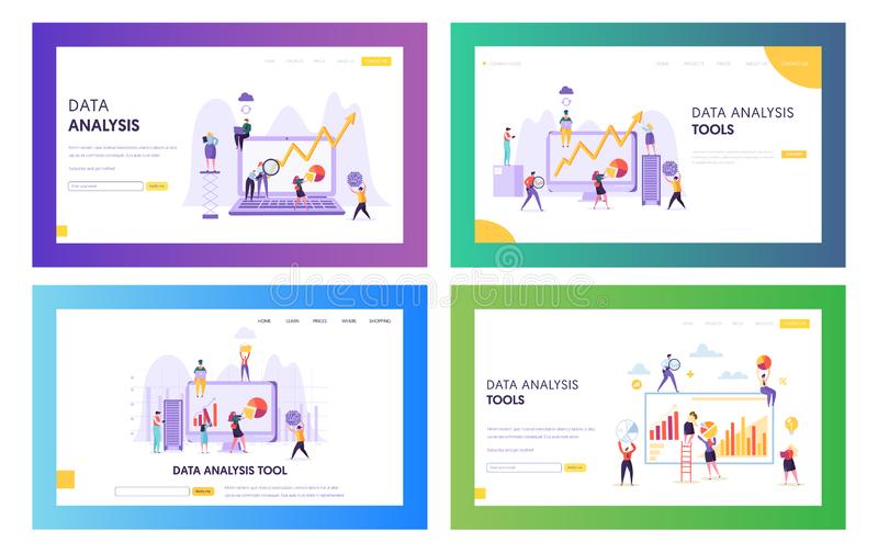 People Analysing Statistic Graphic Landing Page. Business Analytic Information Tool Set. Data Visualisation Concept. Website or Web Page. Teamwork Management stock illustration