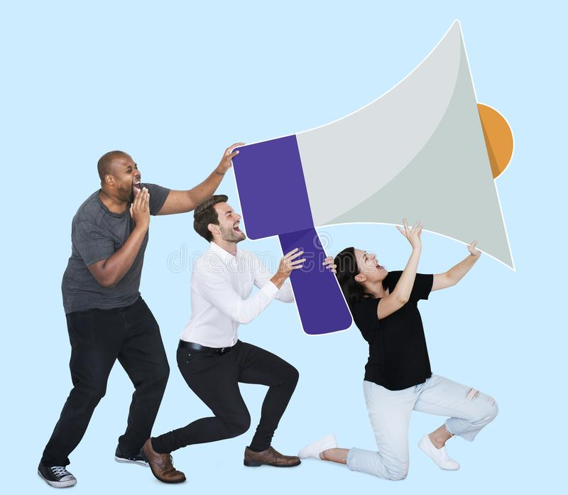 People announcing by a megaphone royalty free stock photography