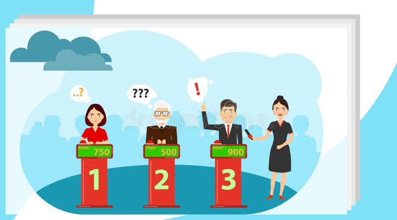 People answer quiz questions and click on the red button. People are thinking about the quiz question and are standing stock photo