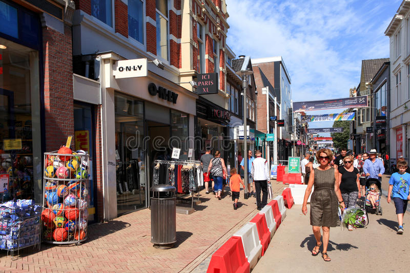 People at Apeldoorn Markstraat main street. Known as a popular shopping street for locals and tourists royalty free stock photo