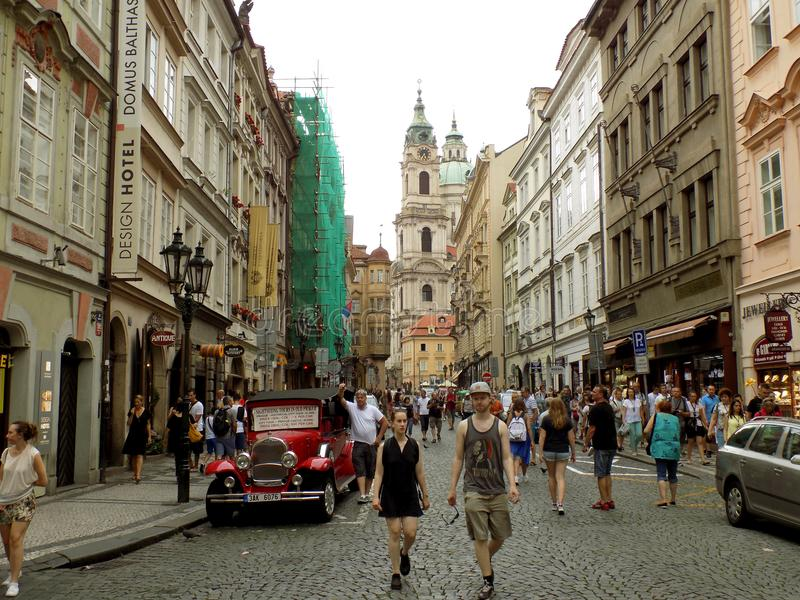 People and architecture of Prague royalty free stock image