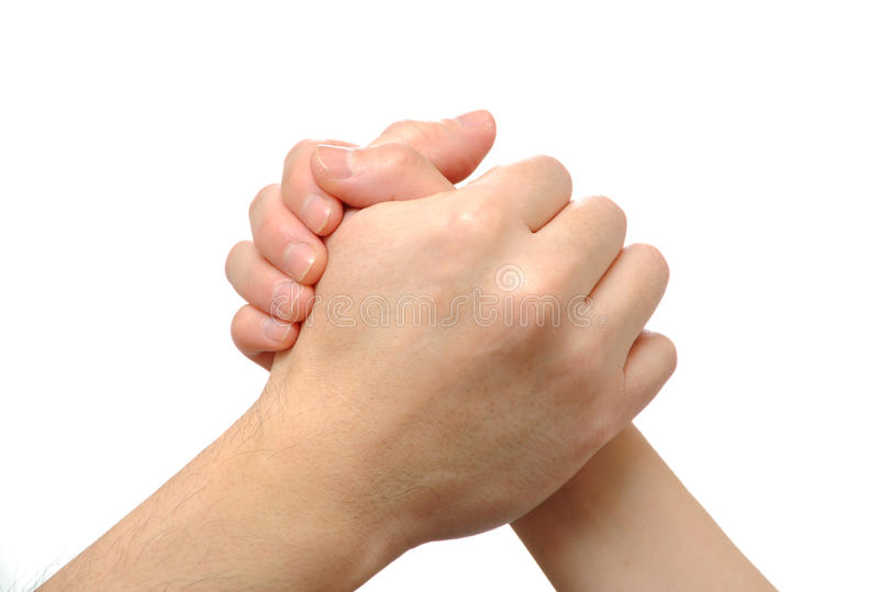 People Arm wrestling. On white background royalty free stock photography