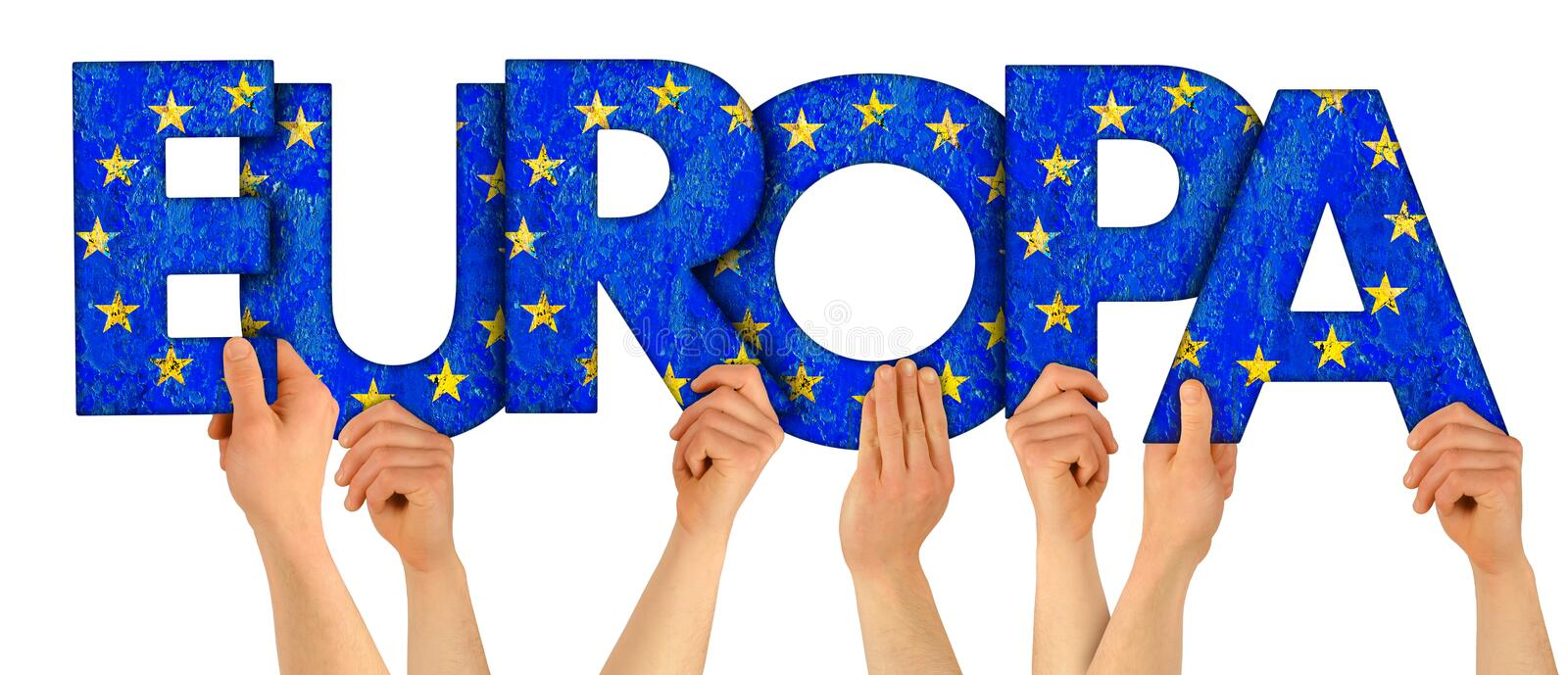 People arms hands holding up wooden letter lettering forming german word Europaenglish translation: Europe in european union. National flag colors tourism stock photography