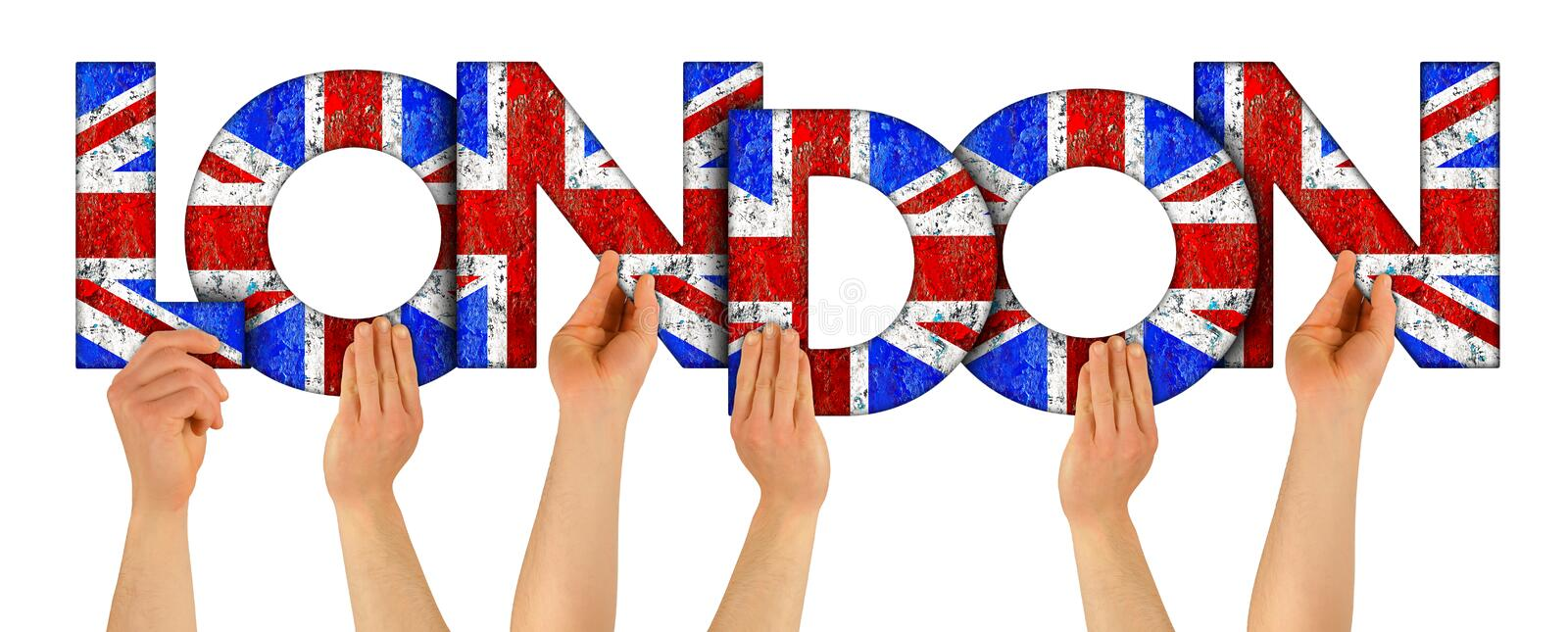 People arms hands holding up wooden letter lettering forming word London in uk union jack great britain uk national flag colors. People arms hands holding up stock image