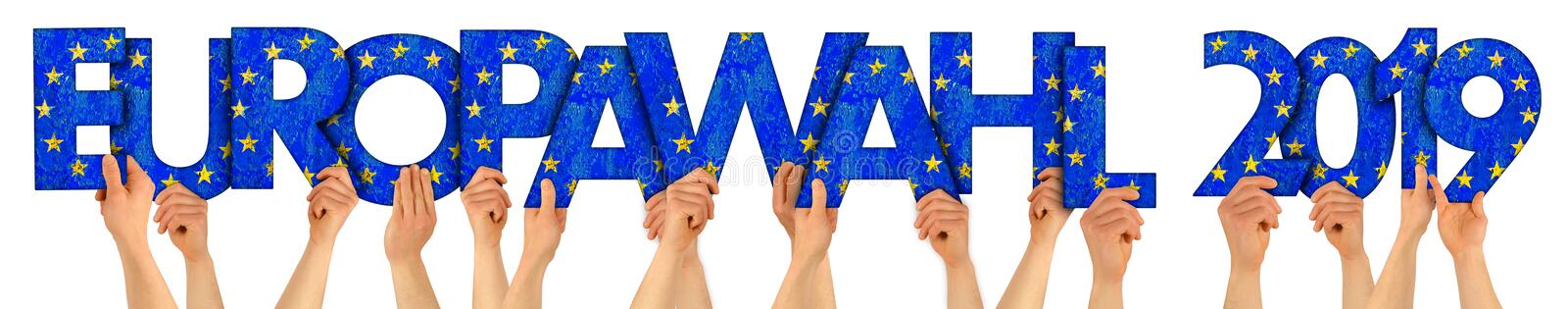 People arms hands holding up wooden letter lettering forming words europawahl 2019 euro union national flag colors politics royalty free stock photography