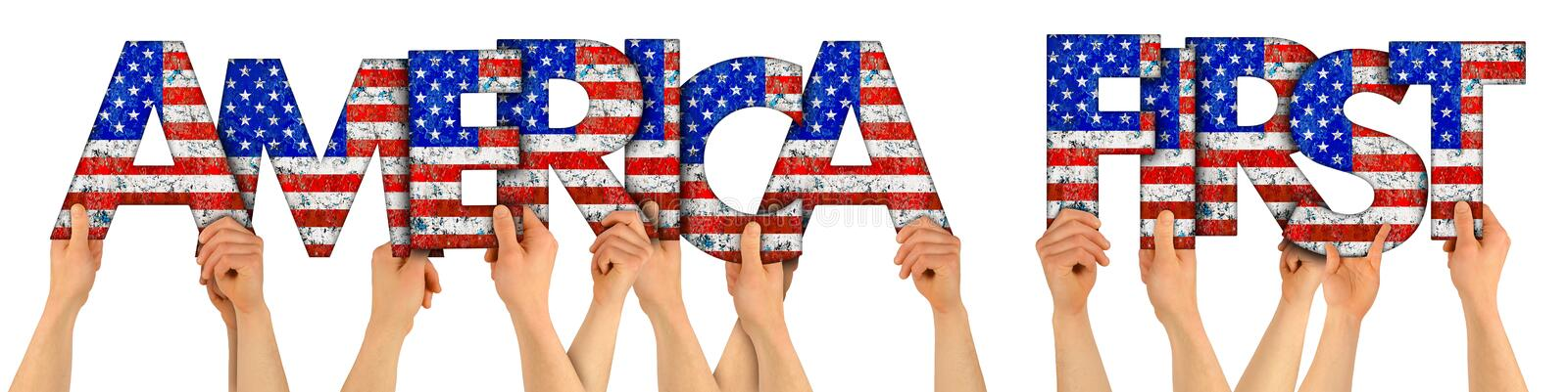 People arms hands holding up wooden letter lettering forming words maerica first with USA stars spangled banner national flag. People arms hands holding up stock photos