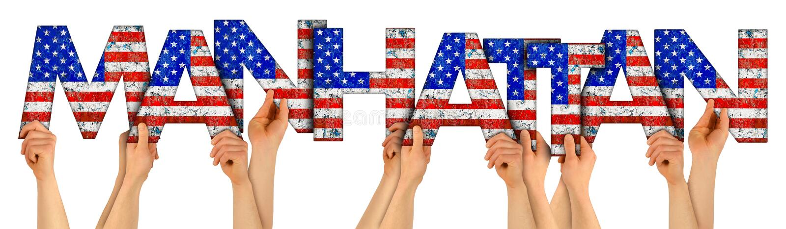 People arms hands holding up wooden letter lettering forming words Manhattan new york city in USA american national flag colors stock photo