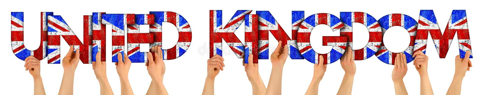 People arms hands holding up wooden letter lettering forming words united kingdom in union jack uk national flag colors tourism. People arms hands holding up stock photos