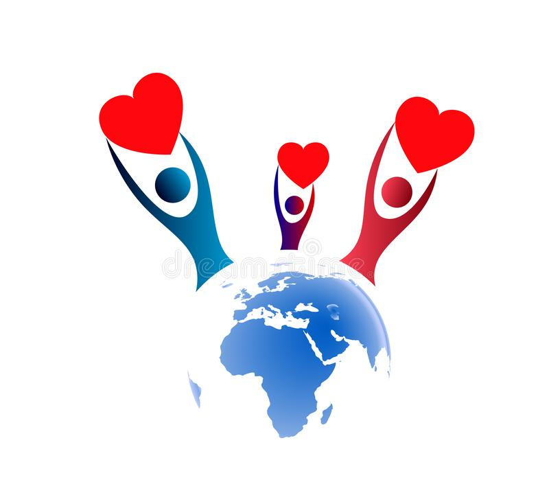 People around Globe hands up with holding heart icon family union, love care in hands logo. People around Globe hands up icon family union, home love care in stock illustration