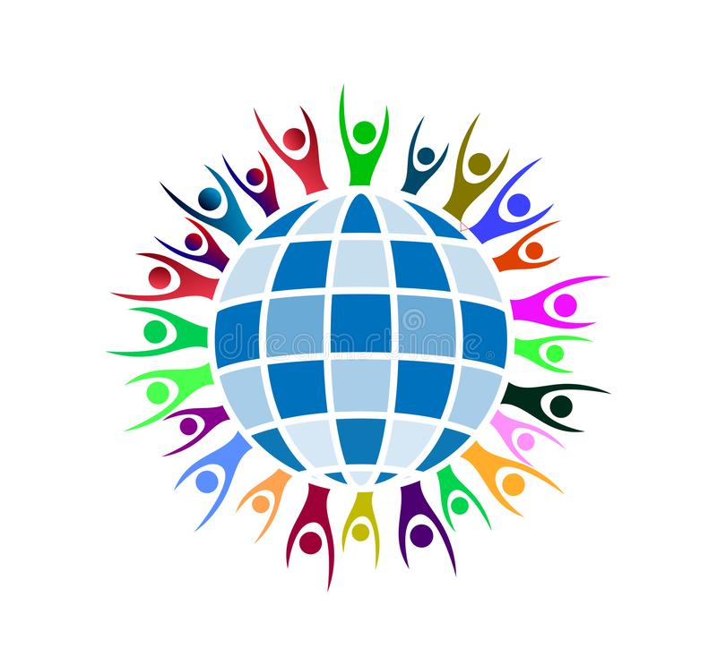 People around Globe hands up icon family union, love care in hands logo. People around Globe hands up icon family union, home love care in hands logo in ai10 vector illustration