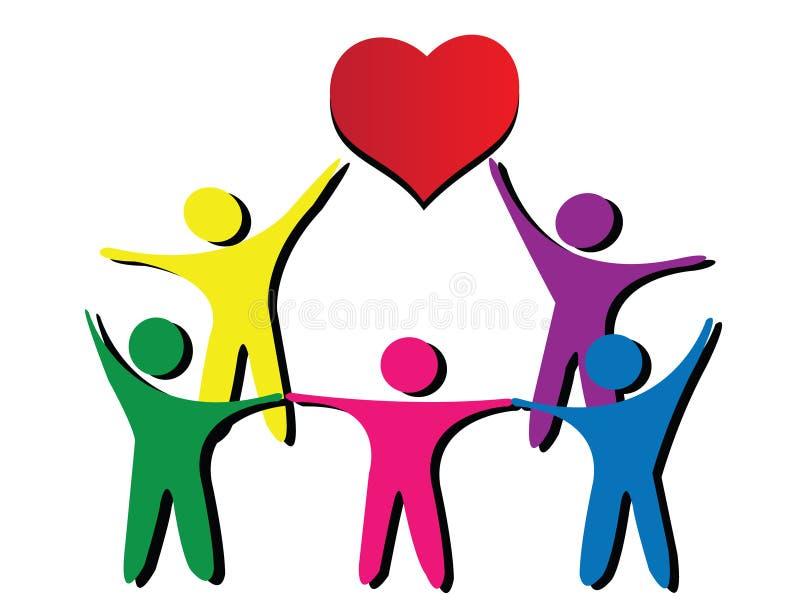 People around heart stock illustration