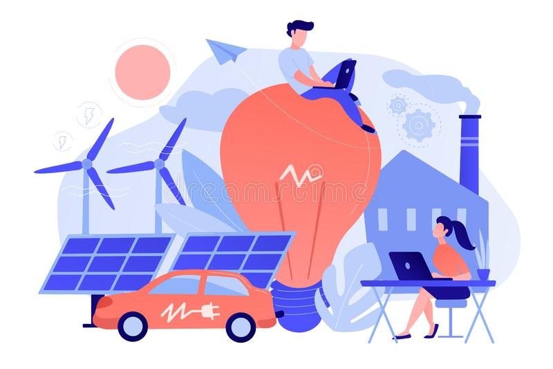 Smart energy and power systems IoT smart city concept vector ill stock illustration