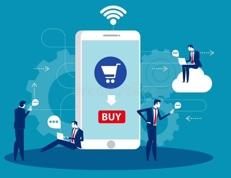 People are around a huge smartphone buying some at online store. Concept business technology vector illustration. Technology, royalty free illustration