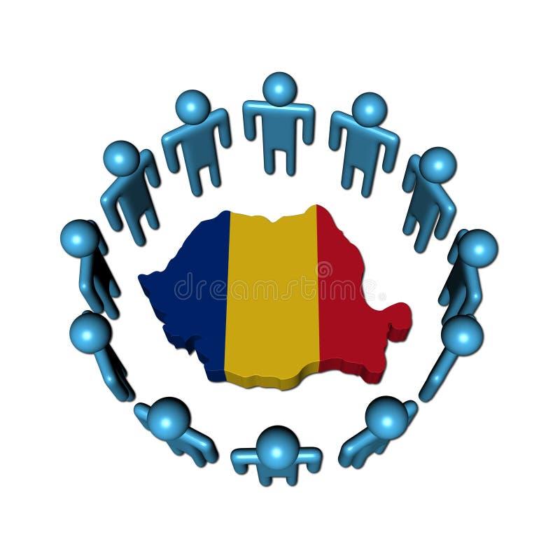 People around Romania map flag. Circle of abstract people around Romania map flag illustration stock illustration