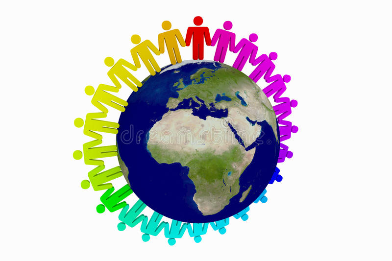 People around the world. Holding hands royalty free illustration