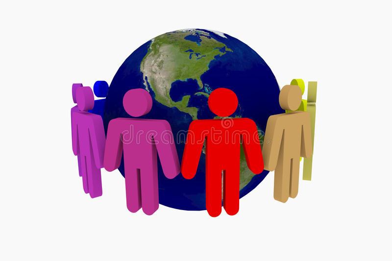 People around the world. Holding hands stock illustration