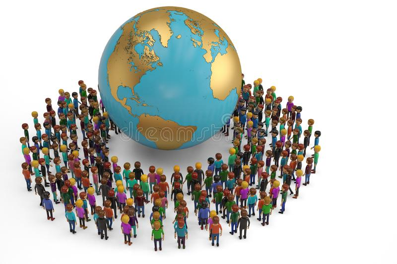 People as a circle around globe isolated on white background. 3D illustration. stock illustration