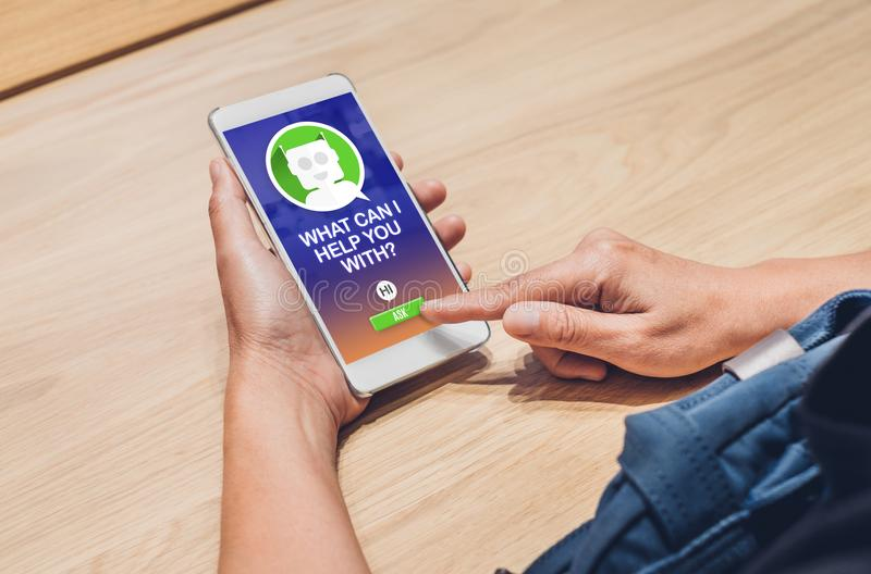 People ask chat bot function in mobile app . looking for customer. Support online shopping shopping. digital marketing concept, artificial intelligence ai royalty free stock image
