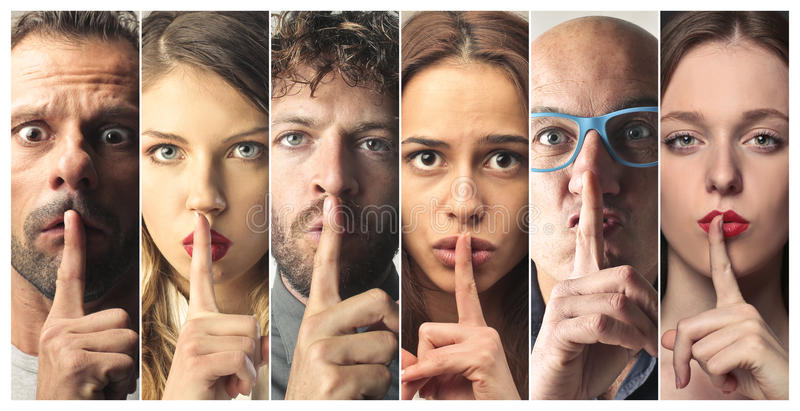 People asking for silence royalty free stock photo