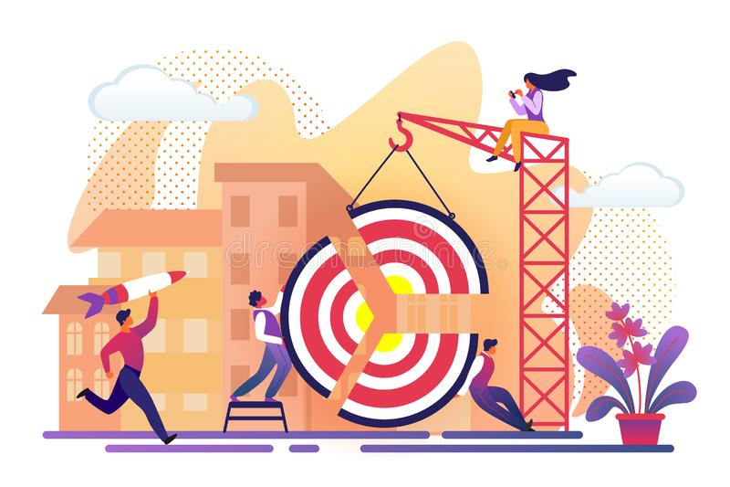 People Assemble Huge Target Pieces Building Crane royalty free illustration