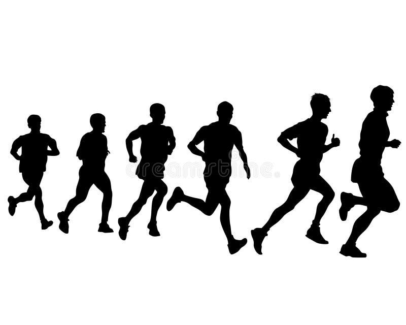 Running people eight. People athletes on running race on white background royalty free illustration