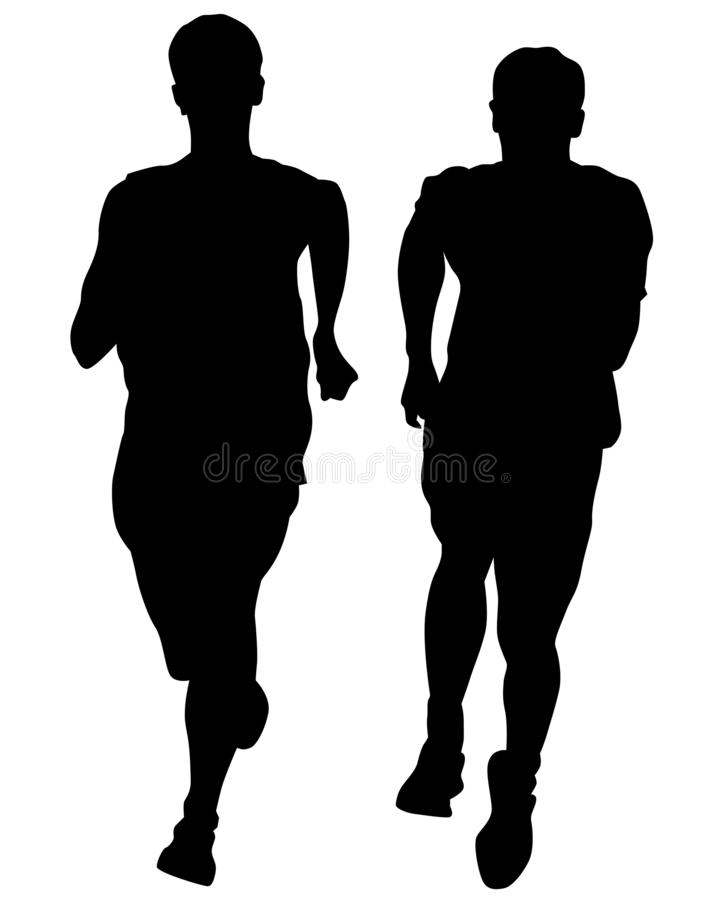 Running people two. People athletes on running race on white background vector illustration