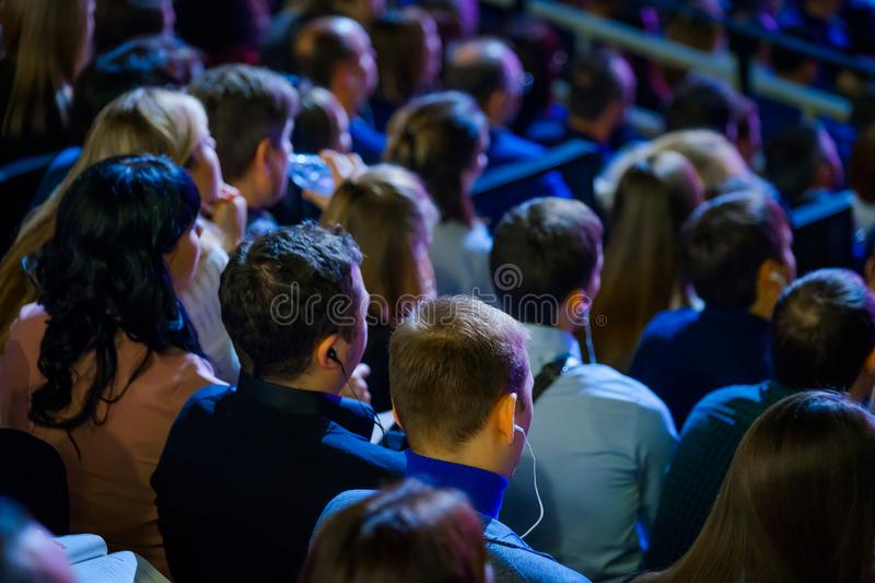People attend business conference in congress hall royalty free stock images