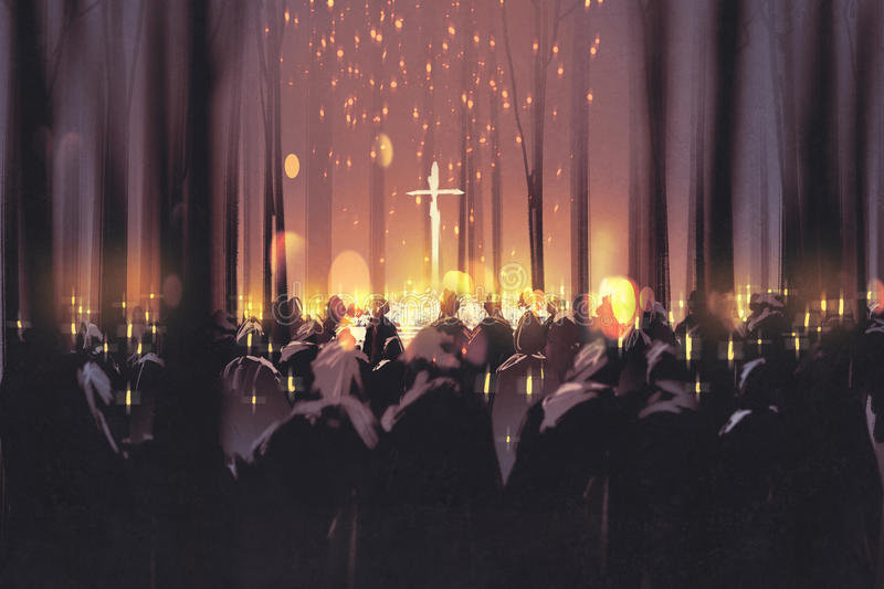 People attend a vigil and light candles in the forest. Mourning,funeral,people attend a vigil and light candles in the forest,illustration digital painting stock illustration