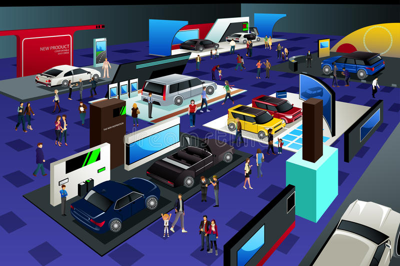 People Attending an Auto Show. A vector illustration of People Attending an Auto Show vector illustration