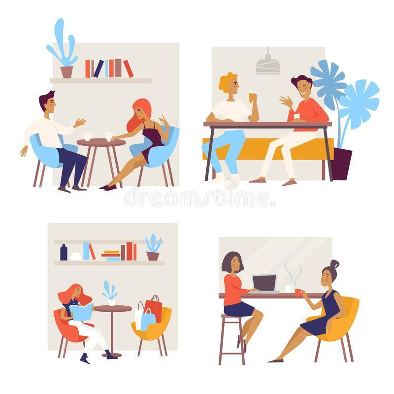 Different people having coffee break and meetings in cafe. People attending cafe, couple on a date, friends having drink and chatting, coffee break during stock illustration