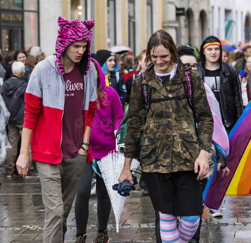 People attending the Gay Pride parade also known as Christopher Street Day CSD in Munich, Germany. 2019: People attending the Gay Pride parade also known as royalty free stock image